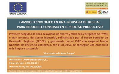 IDAE concede una subvención para llevar a cabo un proyecto de ahorro y eficiencia energética